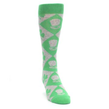 Image of Green Irish St. Patrick's Day Shamrock Clover Men's Dress Socks (side-1-front-03)