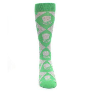Image of Green Irish St. Patrick's Day Shamrock Clover Men's Dress Socks (front-04)