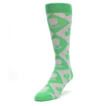 Image of Green Irish St. Patrick's Day Shamrock Clover Men's Dress Socks (side-2-front-07)