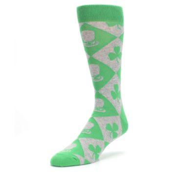 Image of Green Irish St. Patrick's Day Shamrock Clover Men's Dress Socks (side-2-front-08)