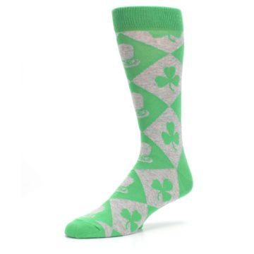 Image of Green Irish St. Patrick's Day Shamrock Clover Men's Dress Socks (side-2-09)