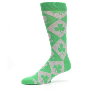 Image of Green Irish St. Patrick's Day Shamrock Clover Men's Dress Socks (side-2-10)