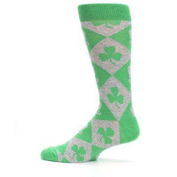 Image of Green Irish St. Patrick's Day Shamrock Clover Men's Dress Socks (side-2-12)