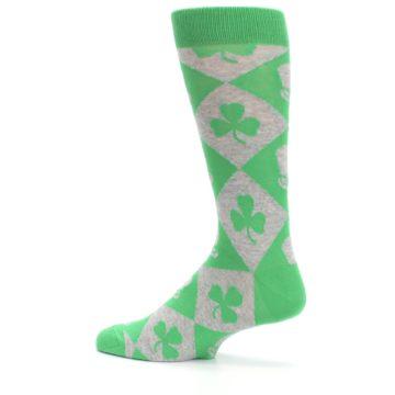 Image of Green Irish St. Patrick's Day Shamrock Clover Men's Dress Socks (side-2-13)