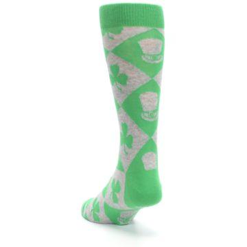 Image of Green Irish St. Patrick's Day Shamrock Clover Men's Dress Socks (side-2-back-16)