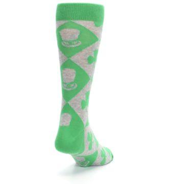 Image of Green Irish St. Patrick's Day Shamrock Clover Men's Dress Socks (side-1-back-20)