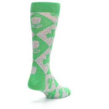Image of Green Irish St. Patrick's Day Shamrock Clover Men's Dress Socks (side-1-back-21)
