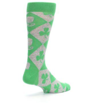 Image of Green Irish St. Patrick's Day Shamrock Clover Men's Dress Socks (side-1-back-22)