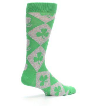 Image of Green Irish St. Patrick's Day Shamrock Clover Men's Dress Socks (side-1-23)