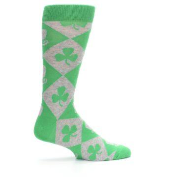 Image of Green Irish St. Patrick's Day Shamrock Clover Men's Dress Socks (side-1-24)