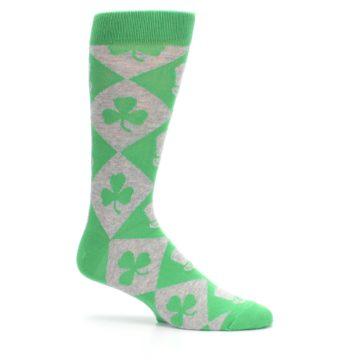 Image of Green Irish St. Patrick's Day Shamrock Clover Men's Dress Socks (side-1-25)