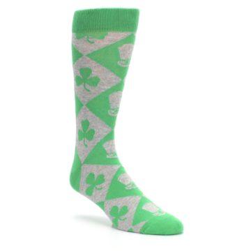 Image of Green Irish St. Patrick's Day Shamrock Clover Men's Dress Socks (side-1-27)
