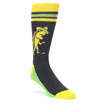 Charcoal-Yellow-Walking-Taco-Mens-Dress-Socks-Statement-Sockwear