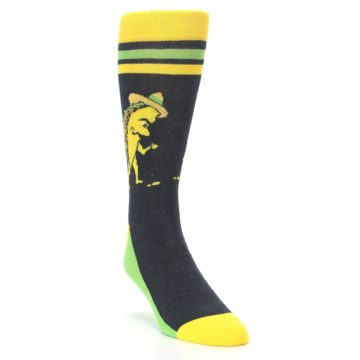 Image of Charcoal Yellow Walking Taco Men's Dress Socks (side-1-front-02)