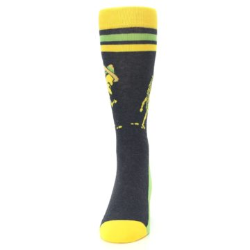 Image of Charcoal Yellow Walking Taco Men's Dress Socks (front-05)
