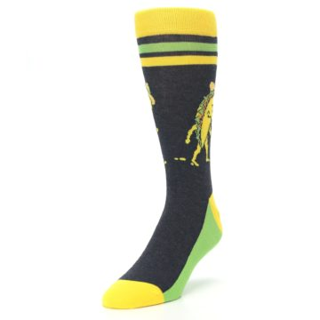Image of Charcoal Yellow Walking Taco Men's Dress Socks (side-2-front-07)