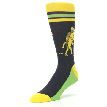 Image of Charcoal Yellow Walking Taco Men's Dress Socks (side-2-front-08)