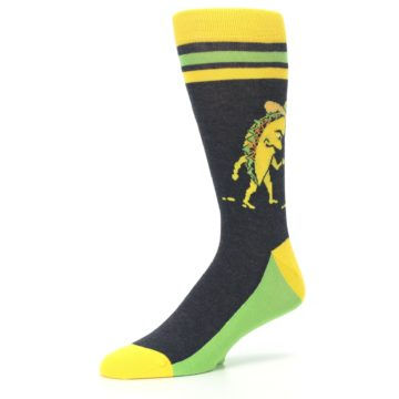 Image of Charcoal Yellow Walking Taco Men's Dress Socks (side-2-09)