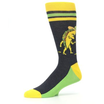 Image of Charcoal Yellow Walking Taco Men's Dress Socks (side-2-10)