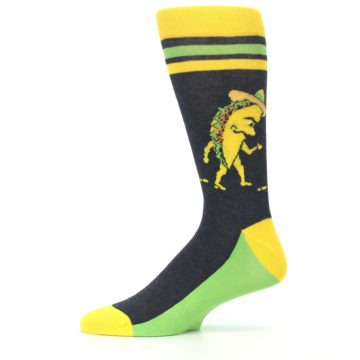 Image of Charcoal Yellow Walking Taco Men's Dress Socks (side-2-11)