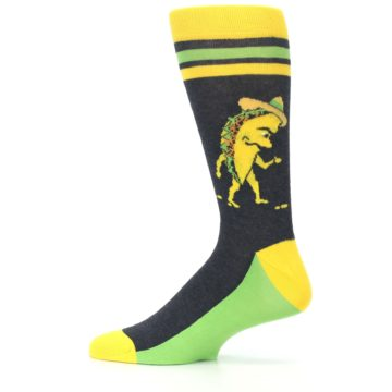 Image of Charcoal Yellow Walking Taco Men's Dress Socks (side-2-12)