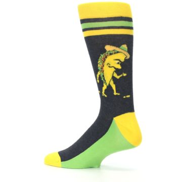 Image of Charcoal Yellow Walking Taco Men's Dress Socks (side-2-13)