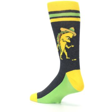 Image of Charcoal Yellow Walking Taco Men's Dress Socks (side-2-back-14)