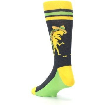 Image of Charcoal Yellow Walking Taco Men's Dress Socks (side-2-back-15)