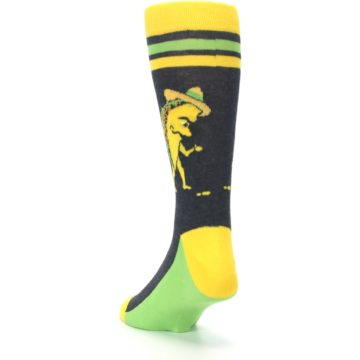 Image of Charcoal Yellow Walking Taco Men's Dress Socks (side-2-back-16)