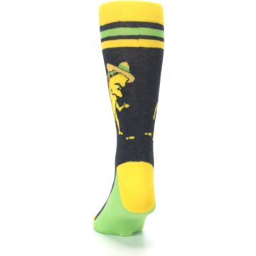 Image of Charcoal Yellow Walking Taco Men's Dress Socks (back-17)