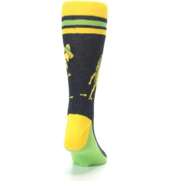 Image of Charcoal Yellow Walking Taco Men's Dress Socks (back-19)