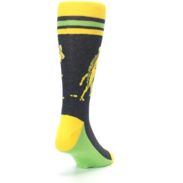 Image of Charcoal Yellow Walking Taco Men's Dress Socks (side-1-back-20)