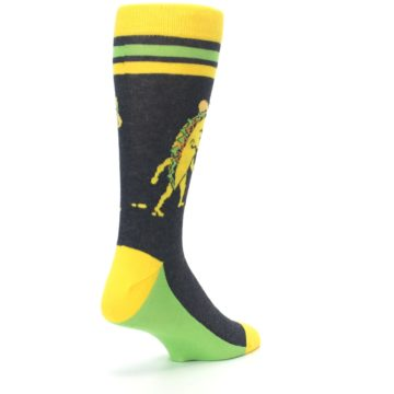 Image of Charcoal Yellow Walking Taco Men's Dress Socks (side-1-back-21)
