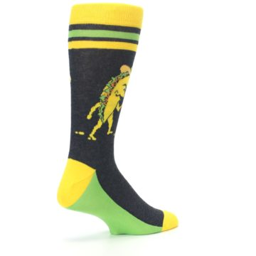 Image of Charcoal Yellow Walking Taco Men's Dress Socks (side-1-back-22)