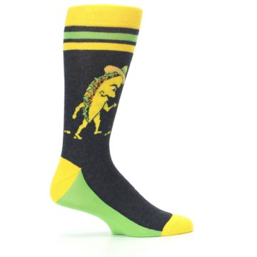 Image of Charcoal Yellow Walking Taco Men's Dress Socks (side-1-24)