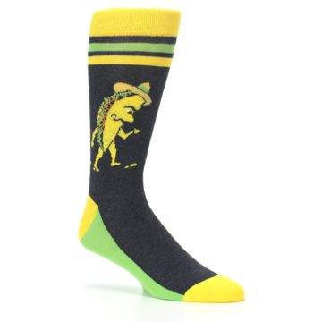Image of Charcoal Yellow Walking Taco Men's Dress Socks (side-1-26)