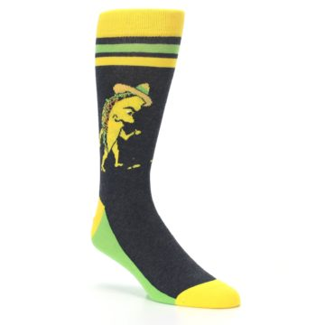 Image of Charcoal Yellow Walking Taco Men's Dress Socks (side-1-27)