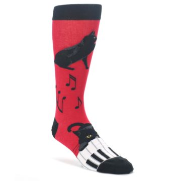 Red-Black-Piano-Cat-Mens-Dress-Socks-Mod-Sock