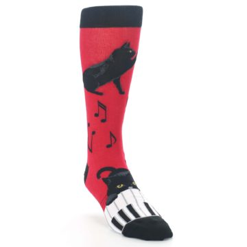Red Black Piano Cat Mens Dress Socks Mod Sock