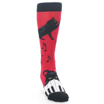 Image of Red Black Piano Cat Men's Dress Socks (side-1-front-03)
