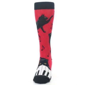 Image of Red Black Piano Cat Men's Dress Socks (front-05)