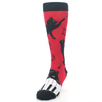 Image of Red Black Piano Cat Men's Dress Socks (side-2-front-06)