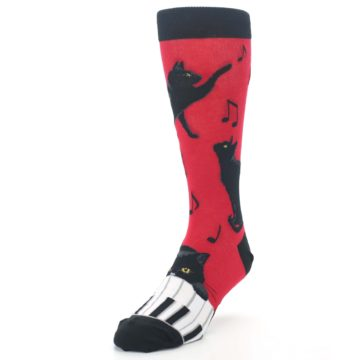 Image of Red Black Piano Cat Men's Dress Socks (side-2-front-07)