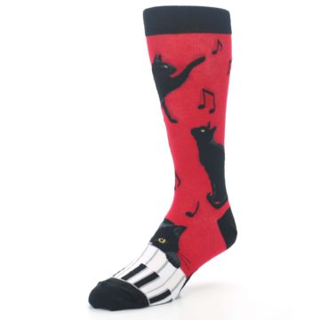 Image of Red Black Piano Cat Men's Dress Socks (side-2-front-08)