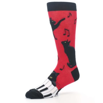 Image of Red Black Piano Cat Men's Dress Socks (side-2-09)