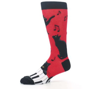 Image of Red Black Piano Cat Men's Dress Socks (side-2-10)