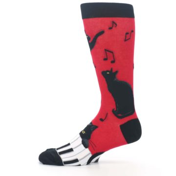 Image of Red Black Piano Cat Men's Dress Socks (side-2-11)