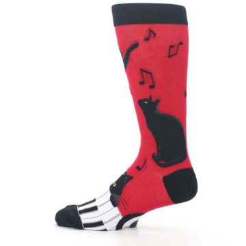 Image of Red Black Piano Cat Men's Dress Socks (side-2-12)