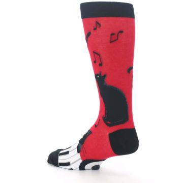 Image of Red Black Piano Cat Men's Dress Socks (side-2-back-14)