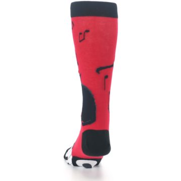 Image of Red Black Piano Cat Men's Dress Socks (back-17)
